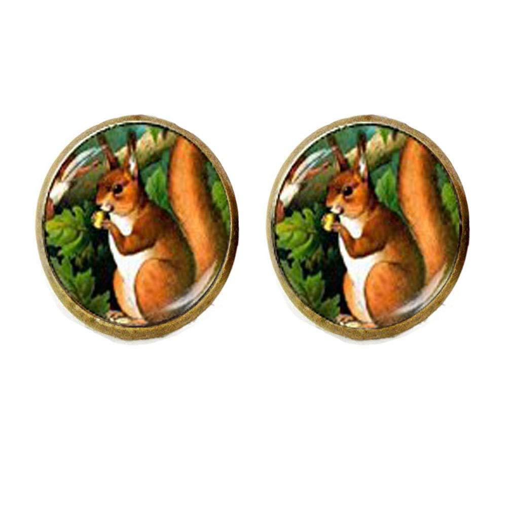 Squirrel - Pendientes de tuerca, diseño de ardilla, color ...