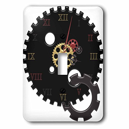 3dRose LSP_235668_1 Black, Red, and Faux Gold Steampunk Cog Clock Illustration Toggle Switch, Multicolor
