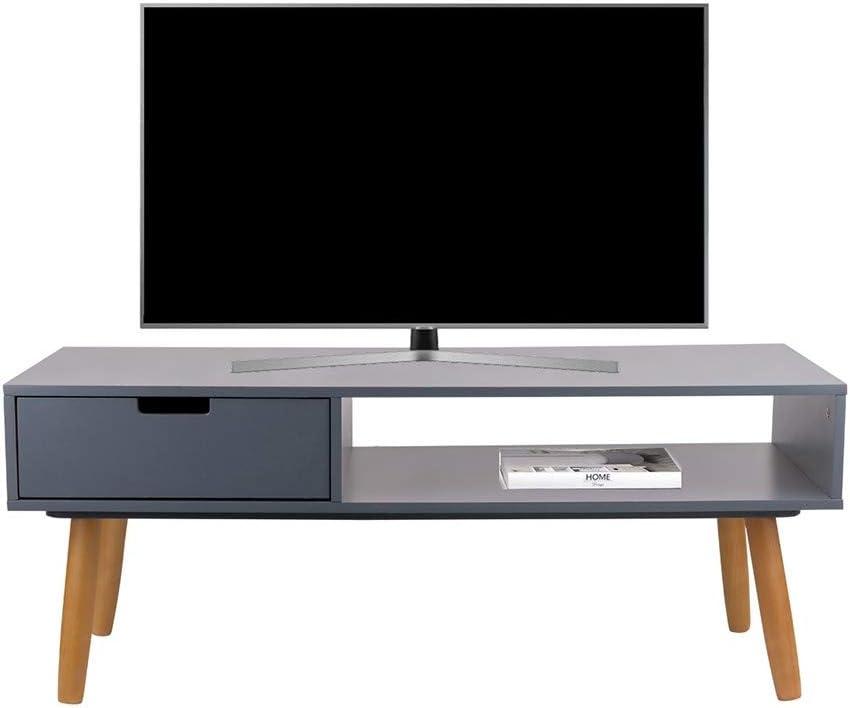 LIFA LIVING Mueble TV Negro, Mesa televisión de diseño Vintage Industrial, Soporte para Tele con estantes y Patas de Madera, 40 x 100 x 40 cm: Amazon.es: Hogar