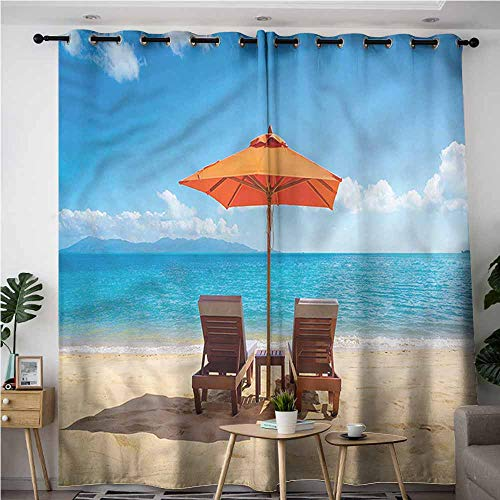 BE.SUN Living Room/Bedroom Window Curtains,Coastal,Two Chairs Caribbean Sea,Blackout Draperies for Bedroom,W72x96L