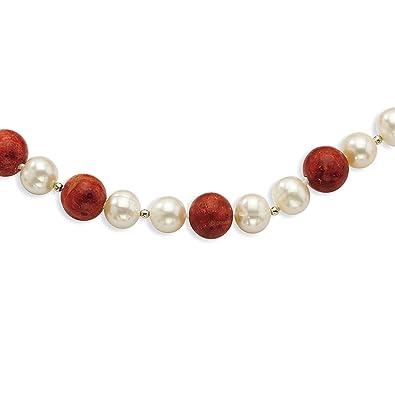 36f997a042c4 Lex   Lu - Collar de plata de ley con perlas FWC y coral rojo estabilizado