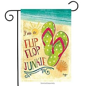 """Flip-it. Pequeño jardín bandera """"I 'm un Flip Flop Junkie"""" # 0756181boutiquehome"""