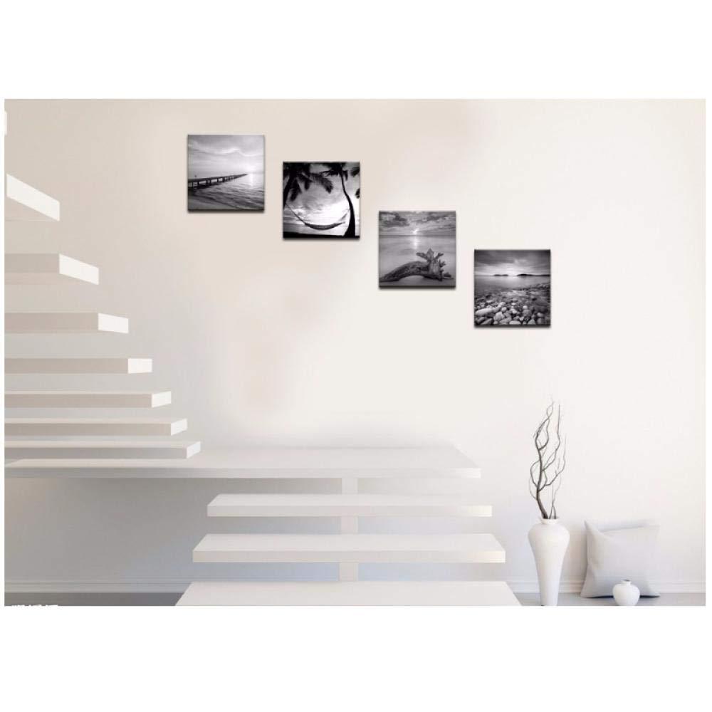 Hdksa Gray Pier Wall Art Painting Blanco Y Negro Seascape Canvas Print Artwork Pics For Living Room Bedroom Decor 50X50Cmx4 Sin Marco