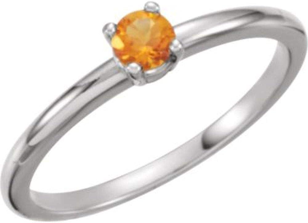 Size 3 Bonyak Jewelry 14k White Gold Imitation Citrine November Youth Birth Month Stone Ring