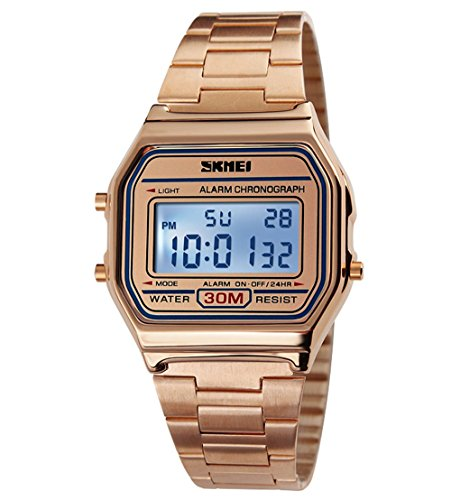 Gosasa Classic Women's Rose Gold Stainless Steel Digital Display (Rose Gold Steel Watch)