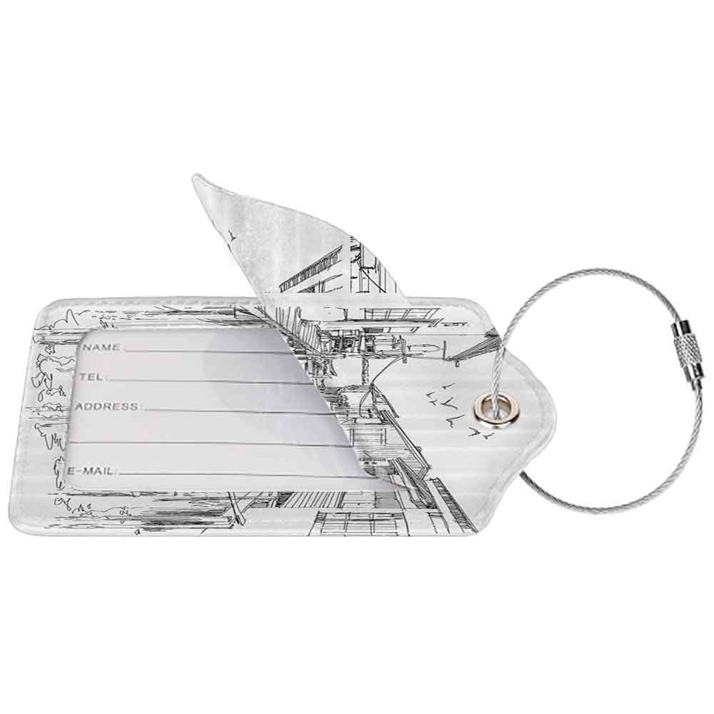 Soft luggage tag Landscape Hand Sketch of a Fishing Village Houses Flying Birds Summertime Countryside Art Bendable Black White W2.7 x L4.6