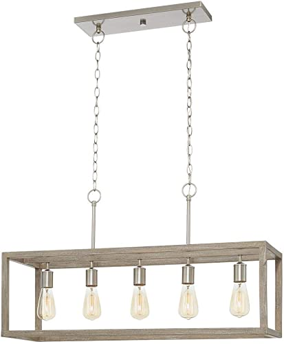 Home Decorators Collection 7965HDCDI Boswell Quarter 5-Light Brushed Nickel Island Chandelier Weathered Wood Accents