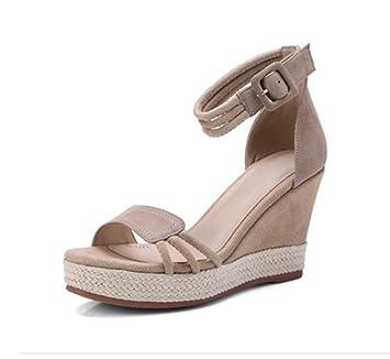 Chaussures 9cm abricot, sandales compensées de paille, talons plate-forme  d été 8e3e9f54a499