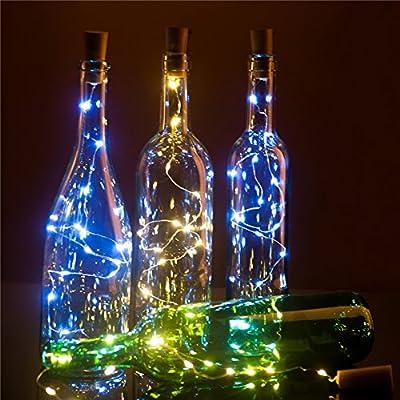 Wine Bottle Cork Lights, 30inch/ 75cm 15 LED Copper Wire Lights String Starry LED Lights for Bottle DIY, Party, Decor, Christmas, Halloween, Wedding or Mood Lights, Hembeer