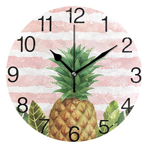 senya Pineapple with Stripes Pink Design Round Wall Clock, Silent Non Ticking Oil Painting Decorative