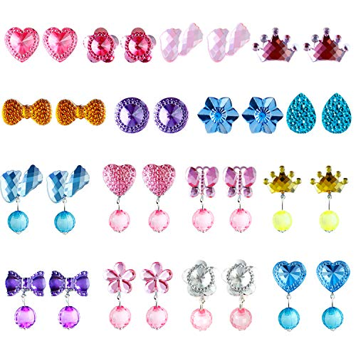 Aneco 16 Pairs Crystal Clip on Earrings Girls Play Earrings Princess Jewelry Earring Dress up Accessories for Party Favor Packed in 2 Clear Boxes