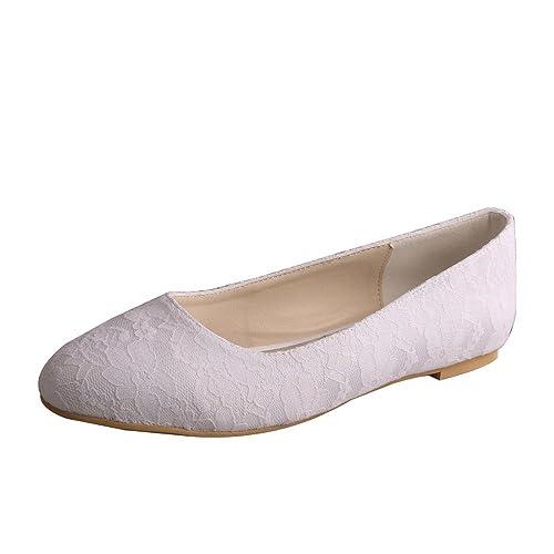 9f41bd36918 Wedopus MW403 Women s Closed Toe Ballet Flats Low Heel Lace Wedding Bridal  Dress Shoes Size 3