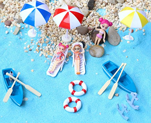 20 Pcs Fairy Garden Kits Figurines for Beach Miniatures Ornaments Fairies Gardens House Terrarium Kit Dollhouse Supplies DIY Outdoor Decorations Boat Ship Beach Chair Seascape ()