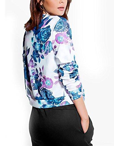 Casual Giacche Corta Blu Zip Donna La Lunghe Unique Giacca Stampata Giubbotto Elegante Giubbino Floreale Maniche Con Moda Autunno Cappotti Vintage twIHHaYq
