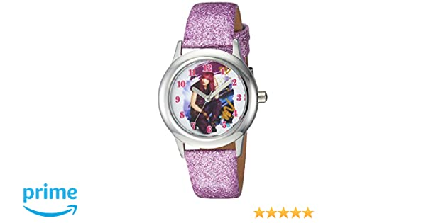 Amazon.com: DISNEY Girls Descendants 2 Stainless Steel Analog-Quartz Watch with Leather-Synthetic Strap, Purple, 15 (Model: WDS000247: Watches