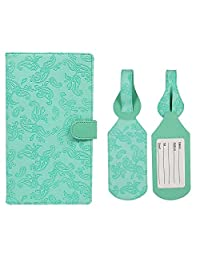 JAVOedge Embossed Paisley Long RFID Blocking Passport Case with Pen Holder and 2 Matching Luggage Tags (Turquoise)