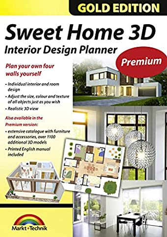 Sweet Home 3D Premium Edition - Interior Design Planner with an additional 1100 3D models and a printed manual, ideal for architects and planners - for Windows 10-8-7-Vista-XP & (Cad Program Software)