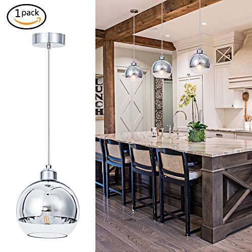 Large Clear Glass Globe Pendant Light in US - 7