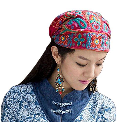 Women's Elegant Embroidered Hat Muslim Turban Chemo Cancer Cap Beanie Sleeping Cap (Red) (Gypsy Head Scarf)