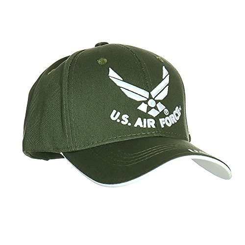 Fusion US Air Force Licensed Official 3D Embroidered Logo USA Flag Emblem Military Adjustable Baseball Cap Dad Hat Green