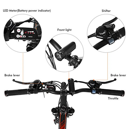 Ancheer 2018 Electric Mountain Bike with Removable LG 36V 8Ah Lithium-Ion Battery for Adults, 26 Inch Electric Mountain Bicycles with Shimano 21 Speed Shifter by ANCHEER (Image #3)