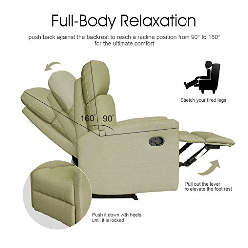 LANGRIA Contemporary Recliner Living Padded Sofa Chair For Home Or Office,  Ergonomic Armrests/Footrests With Premium Soft Foam Padding, Half PU  Leather ...