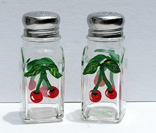 Hand Painted Red Cherry Salt and Pepper Glass Shaker Set , Fruit Kitchen Decor.