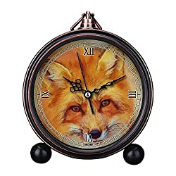 Girlsight Art Retro Living Room Decorative Non-ticking, Easy to Read, Quartz, Analog Large Numerals Bedside Table Desk Alarm Clock-B4368.Flowers Photo Painting Red Fox Fuchs Oil Painting Painting