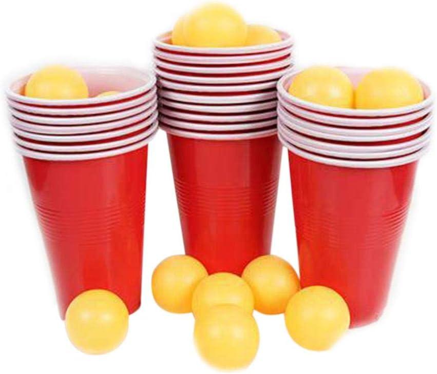 1 juego de lentes de ping pong Juego de lanzamiento de bebidas Copas de cerveza Bolas de ping pong Juego Pong 24 Rojo