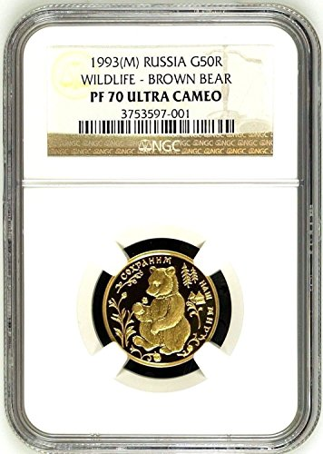 1993 RU Very Rare Russia 1993 Gold 50 Rouble Wildlife Bro coin PF 70 Ultra Cameo NGC