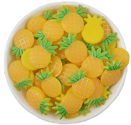 - 50 Pack 3D Fruit Vegetable Slime Charms Resin Flatbacks Buttons Polymer Clay Beads for Miniature Fairy Garden Hair Accessories Home Decorations (Pineapple)