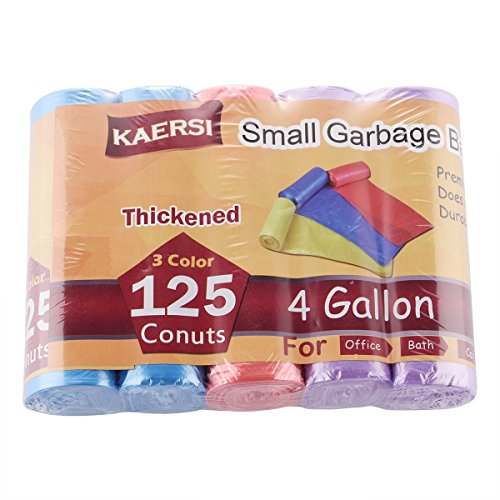 KAERSI Thicken Small Trash Bags for Office,Home Waste Bin, 4 Gallon, 125 Counts 3 Color (BRP)