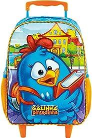 Mala Escolar com Rodinhas 16, Galinha Pintadinha, 8900, Azul
