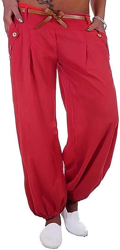 Pantalones De Haren Para Mujer De Esencial Pantalones Globo Pantalones De Haren Pantalones De Yoga Pantalones De Aladdin Pantalones De Verano De Haren Con Cinturon De Tela Moda 2020 Ropa De Mujer