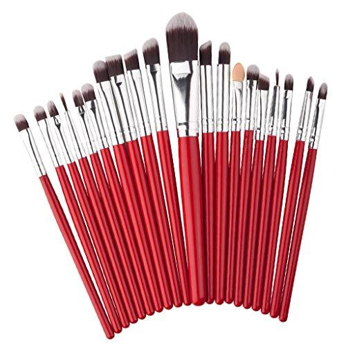 20Pcs Fashion Kabuki Cosmetic Set Eyeshadow Eyebrow Foundation Lip Brush Red
