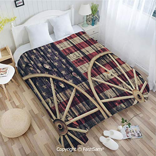 PUTIEN Unique Rectangular Flannel Blanket Big Antique Cart Carriage Wheels with American Flag in Retro Vintage Colors New World Print Sofa Blanket for Bedroom(59Wx78L)