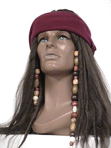 Deluxe Dark Brown Pirate Wig Jack Sparrow Captain Hook Buccaneer Costume Wig (Dark Brown) (Brown Dreadlock Wig)