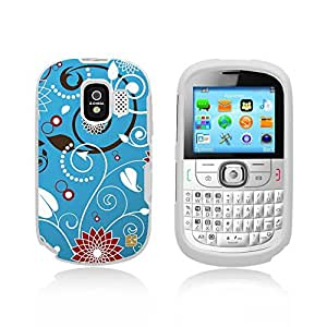 Premium Protection Slim Light Weight 2 piece Snap On Non-Slip Matte Hard Shell Rubber Coated Rubberized Phone Case Cover With Design For Alcatel One Touch 871A - Flower Swirl Blue - White - Retail Packaging