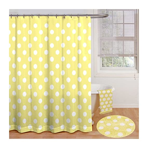 """Polly Polka Dot Inch x 72, 72"""" by 72"""", Yellow - Measures 72"""" by 72"""" Made from 100% polyester The Polly Shower Curtain offers classic polka dot style for your bathroom - shower-curtains, bathroom-linens, bathroom - 51974wVaVML. SS570  -"""