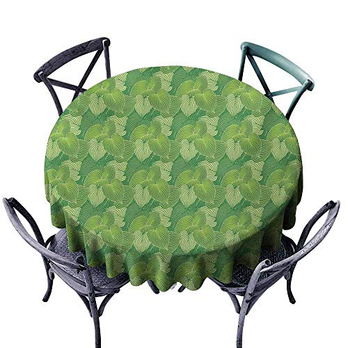 (VIVIDX Stain Round Tablecloth,Green,Abstract Hosta Plants Lush Forest Growth Leaves Ecology Jungle Theme,Party Decorations Table Cover Cloth,55 INCH,Fern Lime and Pale Green)