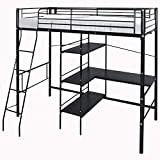 Strong Metal Cabin Bed Loft Bed Frame High Sleeper Bunk Bed 3ft with Ladder Desk and Shelves for Kids Children by WarmieHomy (Black)