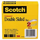 Scotch 6652P1236 665 Double-Sided Tape, 1/2'' x 1296'', 3'' Core, Transparent, 2/Pack