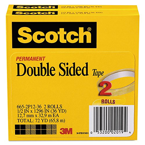Scotch 6652P1236 665 Double-Sided Tape, 1/2-Inch x 1296-Inch, 3-Inch Core, Transparent, 2/Pack ()