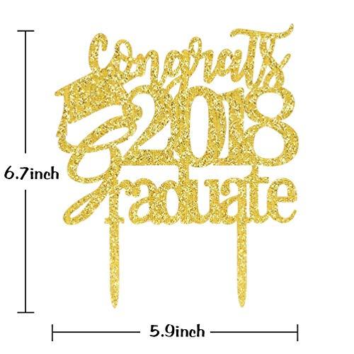 KISKISTONITE Congrats 2018 Graduate Cake Topper - Class of 2018 Grad Party Decoration Supplies - High School Graduation, College Graduate Cake Topper Special Event by kiskistonite (Image #3)