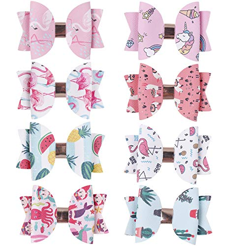 CN Girls Leather Hair Bow Printed Pattern Boutique Clips Mermaid Watermelon Cactus Hair Accessories Set Of 8]()