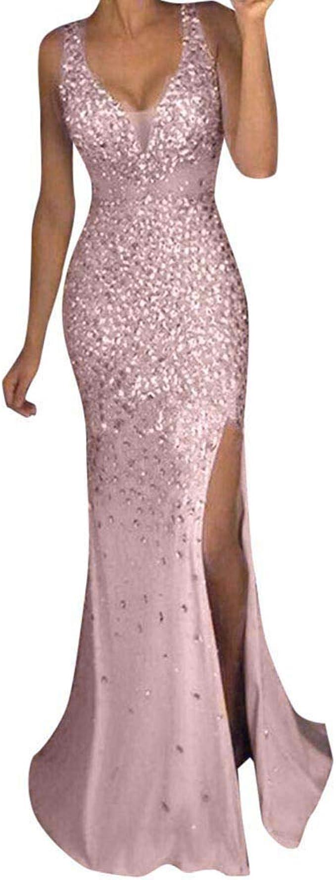 MAYOGO Cocktailkleid Lang Abschlussball Kleider Damen Glänzend