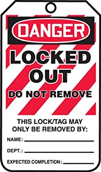 """Accuform Signs MLT418CTP Lockout Tag, Legend """"DANGER LOCKED OUT DO NOT REMOVE"""", 5.75"""" Length x 3.25"""" Width x 0.010"""" Thickness, PF-Cardstock, Red/Black on White (Pack of 25)"""