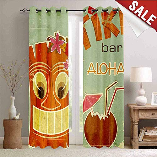 Hengshu Tiki Bar Waterproof Window Curtain Invitation to Tiki Bar Old Fashion Display Coconut Drink Mask and Flowers Print Decorative Curtains for Living Room W72 x L96 Inch -