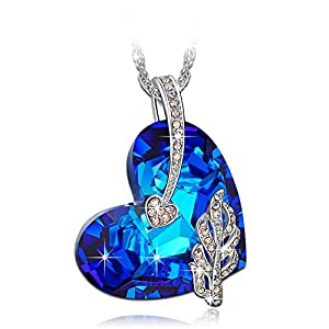 "LadyColour ""Legolas Heart"" Sapphire Heart Pendant Necklace, Made With Swarovski Crystals, Women Fashion Heart Jewelry"