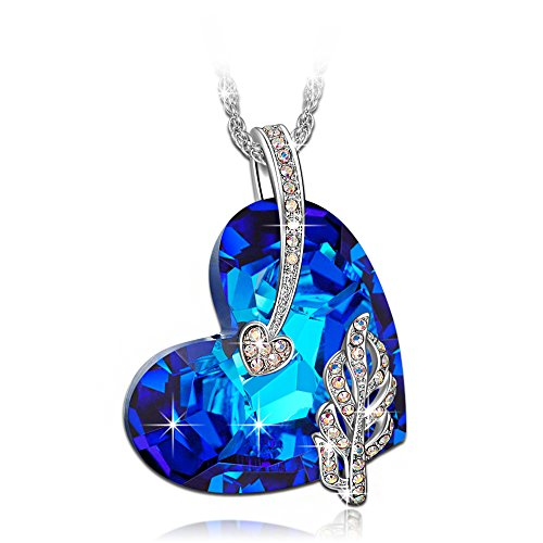 Women Necklaces Blue Heart Pendant Necklace Swarovski Crystals Fashion
